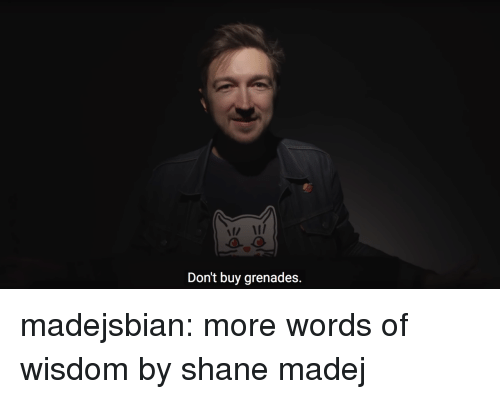 Grenades: n I  Don't buy grenades. madejsbian:  more words of wisdom by shane madej