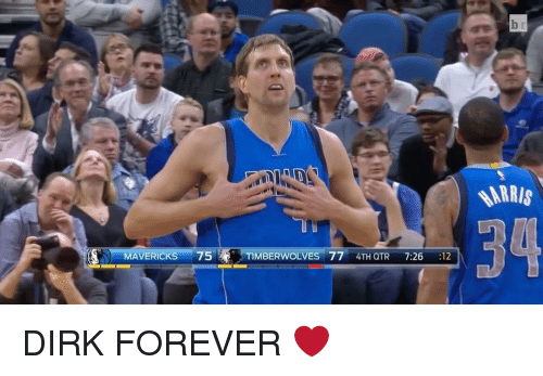 foreverly: N) MAVERICKS  75  TIMBERWOLVES 77  4TH QTR  7:26  12  ARRIS DIRK FOREVER ❤️