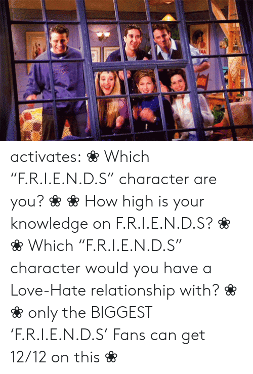 "Zodiac: NA activates:    ❀ Which ""F.R.I.E.N.D.S"" character are you? ❀   ❀ How high is your knowledge on   F.R.I.E.N.D.S? ❀       ❀  ​Which ""F.R.I.E.N.D.S"" character would you have a Love-Hate relationship with?   ❀        ❀  only the BIGGEST 'F.R.I.E.N.D.S' Fans can get 12/12 on this   ❀"