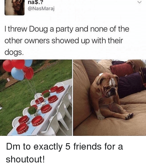 Dogs, Doug, and Friends: na$.?  @NasMaraj  I threw Doug a party and none of the  other owners showed up with their  dogs. Dm to exactly 5 friends for a shoutout!