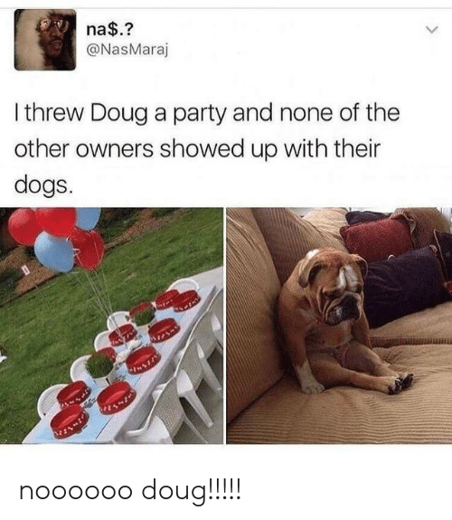 Doug: na$.?  @NasMaraj  Ithrew Doug a party and none of the  other owners showed up with their  dogs. noooooo doug!!!!!