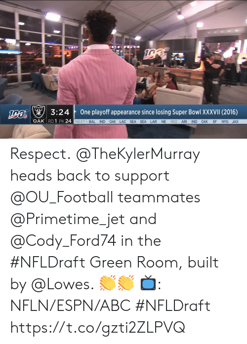 Lowes: na3:24  One playoff appearance since losing Super Bowl XXXVII (2016)  OAK RD 1 PK 24  NEXT BAL IND OAK LAC SEA SEA LAR NE RD2 ARI IND OAK SF NYG JAX Respect.  @TheKylerMurray heads back to support @OU_Football teammates @Primetime_jet and @Cody_Ford74 in the #NFLDraft Green Room, built by @Lowes. 👏👏  📺: NFLN/ESPN/ABC #NFLDraft https://t.co/gzti2ZLPVQ