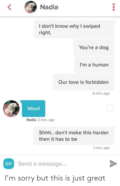 Gif, Love, and Sorry: Nadia  I don't know why I swiped  right.  You're a dog  I'm a human  Our love is forbidden  2 min. ago  Woof  Nadia 2 min. ago  Shhh.. don't make this harder  then it has to be  1 min. ago  Send a message...  GIF I'm sorry but this is just great