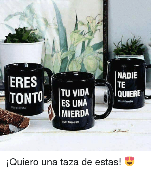 Miss, Tonto, and Nä: NADIE  TE  TONTO !  TU VIDA  NA  MIERDA  QUIERE  Miss Miserable  Miss Misegable  Miss Miserable ¡Quiero una taza de estas! 😍