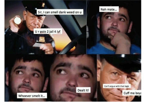 Arguing, Dank, and Jail: Nah mate...  Sir, I can smell dank weed on u  U r goin 2 jail 4 lyf  Can't argue with that logic  Dealt it!  Cuff me boy  Whoever smelt it...