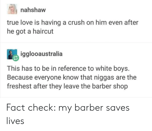 Barber Shop: nahshaw  true love is having a crush on him even after  he got a haircut  igglooaustralia  This has to be in reference to white boys.  Because everyone know that niggas are the  freshest after they leave the barber shop Fact check: my barber saves lives
