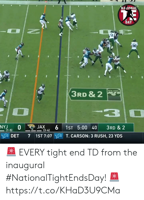Memes, Rush, and 🤖: NAIONAL  DAY  14  3RD & 2  3  NYJ  (1-5)  JAX  (3-4)  1ST 5:00 40  3RD & 2  DET  7 1ST 7:07  T. CARSON: 3 RUSH, 23 YDS 🚨 EVERY tight end TD from the inaugural #NationalTightEndsDay! 🚨 https://t.co/KHaD3U9CMa