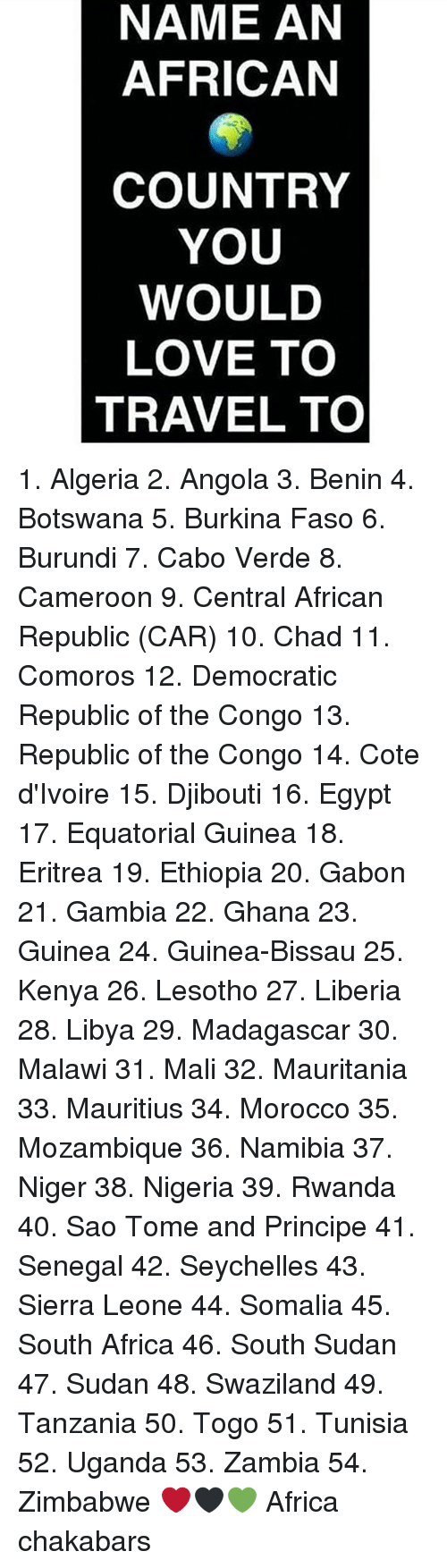 liberia: NAME AN  AFRICAN  COUNTRY  YOU  WOULD  LOVE TO  TRAVEL TO 1. Algeria 2. Angola 3. Benin 4. Botswana 5. Burkina Faso 6. Burundi 7. Cabo Verde 8. Cameroon 9. Central African Republic (CAR) 10. Chad 11. Comoros 12. Democratic Republic of the Congo 13. Republic of the Congo 14. Cote d'Ivoire 15. Djibouti 16. Egypt 17. Equatorial Guinea 18. Eritrea 19. Ethiopia 20. Gabon 21. Gambia 22. Ghana 23. Guinea 24. Guinea-Bissau 25. Kenya 26. Lesotho 27. Liberia 28. Libya 29. Madagascar 30. Malawi 31. Mali 32. Mauritania 33. Mauritius 34. Morocco 35. Mozambique 36. Namibia 37. Niger 38. Nigeria 39. Rwanda 40. Sao Tome and Principe 41. Senegal 42. Seychelles 43. Sierra Leone 44. Somalia 45. South Africa 46. South Sudan 47. Sudan 48. Swaziland 49. Tanzania 50. Togo 51. Tunisia 52. Uganda 53. Zambia 54. Zimbabwe ❤🖤💚 Africa chakabars