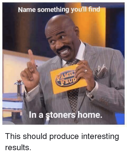 Memes, 🤖, and Stoner: Name something you'll find  In a stoners home. This should produce interesting results.