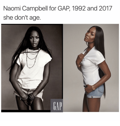 Memes, Naomi Campbell, and 1992: Naomi Campbell for GAP, 1992 and 2017  she don't age
