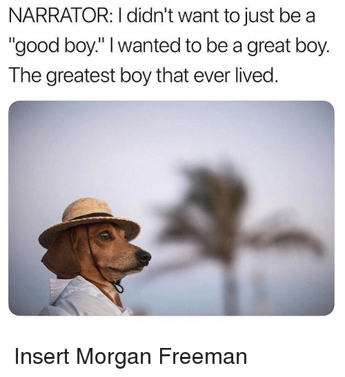 """Memes, Morgan Freeman, and Good: NARRATOR: I didn't want to just be a  """"good boy."""" I wanted to be a great boy.  The greatest boy that ever lived. Insert Morgan Freeman"""