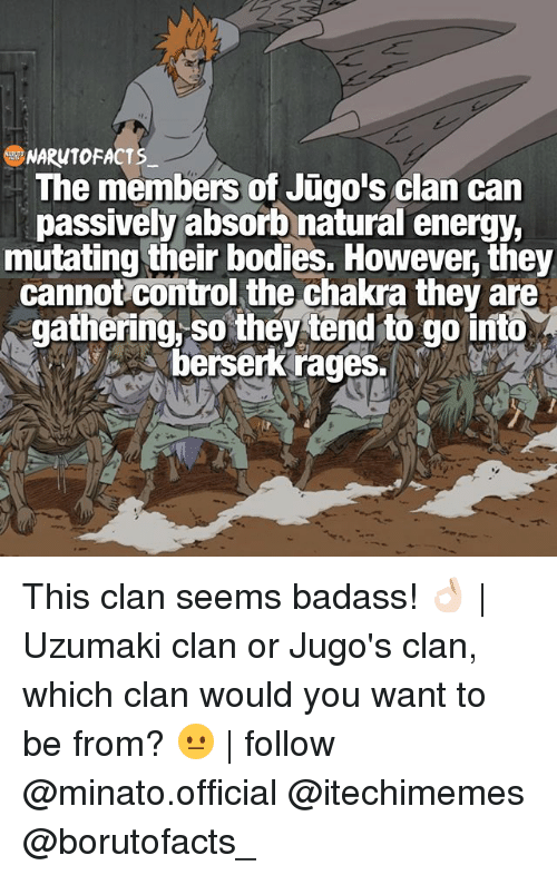 berserker: NARUTO FACTS  The members of Jugo's clan can  passively absorb natural energy,  mutating their bodies. However they  cannot Comtrol the Chakra they are  gathering so they tend to go into  berserk rages. This clan seems badass! 👌🏻 | Uzumaki clan or Jugo's clan, which clan would you want to be from? 😐 | follow @minato.official @itechimemes @borutofacts_