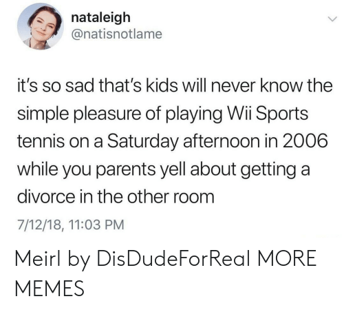 Roomful: nataleigh  @natisnotlame  it's so sad that's kids will never know the  simple pleasure of playing Wi Sports  tennis on a Saturday afternoon in 2006  while you parents yell about getting a  divorce in the other room  7/12/18, 11:03 PM Meirl by DisDudeForReal MORE MEMES