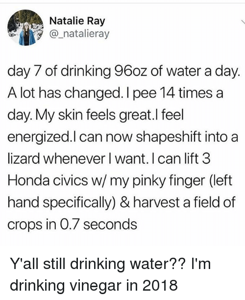 Drinking, Funny, and Honda: Natalie Ray  @ natalieray  day 7 of drinking 96oz of water a day.  A lot has changed. I pee 14 times a  day. My skin feels great.l feel  energized.l can now shapeshift into a  lizard whenever l want. I can lift 3  Honda civics w/ my pinky finger (left  hand specifically) & harvest a field of  crops in 0.7 seconds Y'all still drinking water?? I'm drinking vinegar in 2018