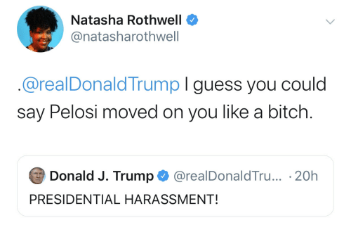 Bitch, Guess, and Trump: Natasha Rothwell  @natasharothwell  @realDonaldTrump I guess you could  say Pelosi moved on you like a bitch.  Donald J. Trump  @realDonaldTru... 20h  PRESIDENTIAL HARASSMENT!