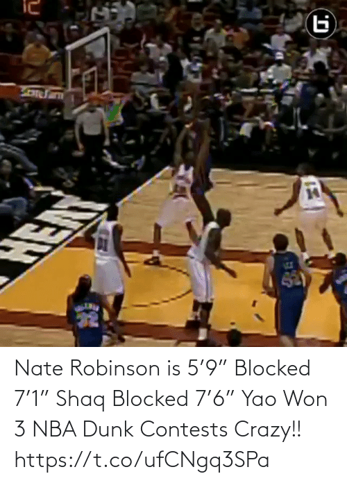 """blocked: Nate Robinson is 5'9"""" Blocked 7'1"""" Shaq Blocked 7'6"""" Yao  Won 3 NBA Dunk Contests  Crazy!!   https://t.co/ufCNgq3SPa"""