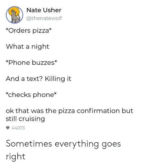Killing It: Nate Usher  @thenatewolf  *Orders pizza*  What a night  Phone buzzes*  And a text? Killing it  *checks phone*  ok that was the pizza confirmation but  still cruising  44073 Sometimes everything goes right