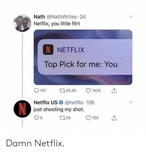 Netflix, Top, and You: Nath @NathWrites 2d  Netflix, you little flirt  N NETFLIX  Top Pick for me: You  9107 85.8K CD 160K で,  Netflix US @netflix-13h  just shooting my shot.  ロ56  9 Damn Netflix.