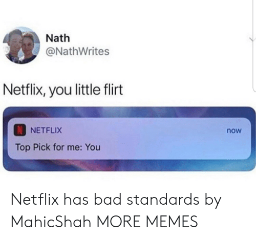 Bad, Dank, and Memes: Nath  @NathWrites  Netflix, you little flirt  NETFLIX  now  Top Pick for me: You Netflix has bad standards by MahicShah MORE MEMES