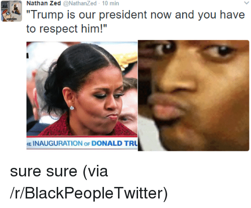 """Blackpeopletwitter, Respect, and Trump: Nathan Zed @NathanZed 10 min  Trump is our president now and you have  to respect him!""""  E INAUGURATION oF DONALD TRU <p>sure sure (via /r/BlackPeopleTwitter)</p>"""