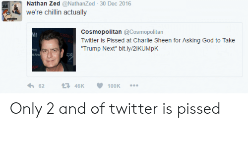 """God, Twitter, and Cosmopolitan: Nathan Zed @NathanZed 30 Dec 2016  we're chillin actually  Cosmopolitan@Cosmopolitan  witter is Pissed at Charie Sheen for Asking God to Take  Trump Next"""" bit.ly/2iKUMpK  Arts  6246K100K Only 2 and  of twitter is pissed"""