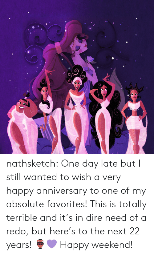 Target, Tumblr, and Blog: nathsketch: One day late but I still wanted to wish a very happy anniversary to one  of my absolute favorites! This is totally terrible and it's in dire need  of a redo, but here's to the next 22 years! 🏺💜 Happy weekend!