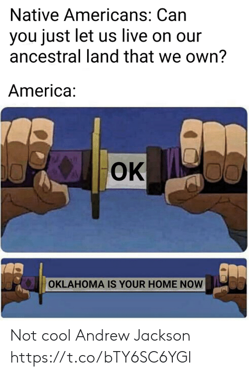Oklahoma: Native Americans: Can  you just let us live on our  ancestral land that we own?  America:  OK  00  OKLAHOMA IS YOUR HOME NOW Not cool Andrew Jackson https://t.co/bTY6SC6YGl