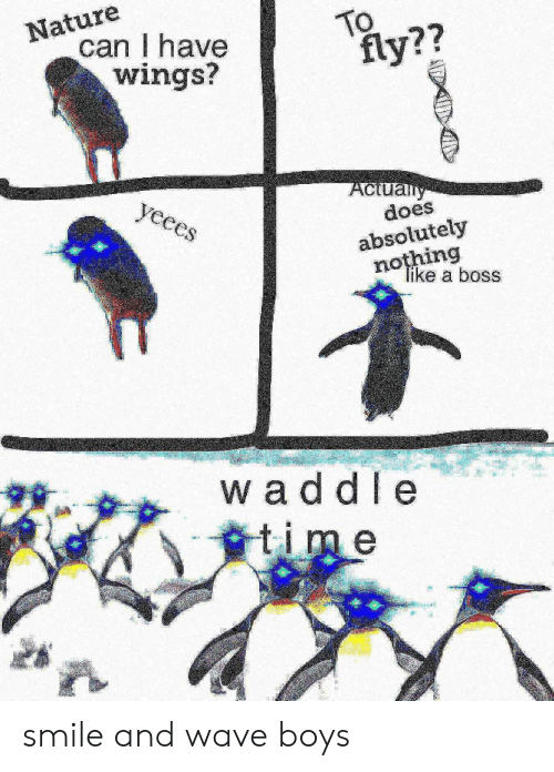 Nature, Smile, and Time: Nature  can I have  wings?  TO  fly??  Aclually  does  yeees  absolutely  nothing  Tike a boss  waddle  time smile and wave boys