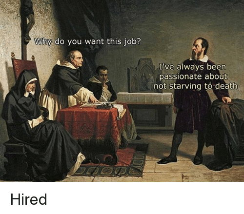 Death, Classical Art, and Passionate: NAV10% do you want this job?  I've always been  passionate about  not starving to death Hired
