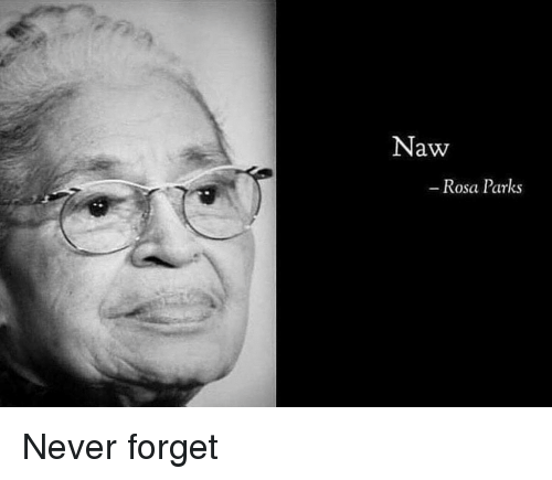 Rosa Parks: Naw  Rosa Parks Never forget