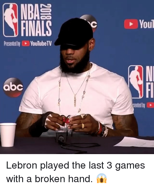 Abc, Finals, and Nba: NBA  FINALS  You  Presented by YouTubeTV  abc  ented by Lebron played the last 3 games with a broken hand. 😱