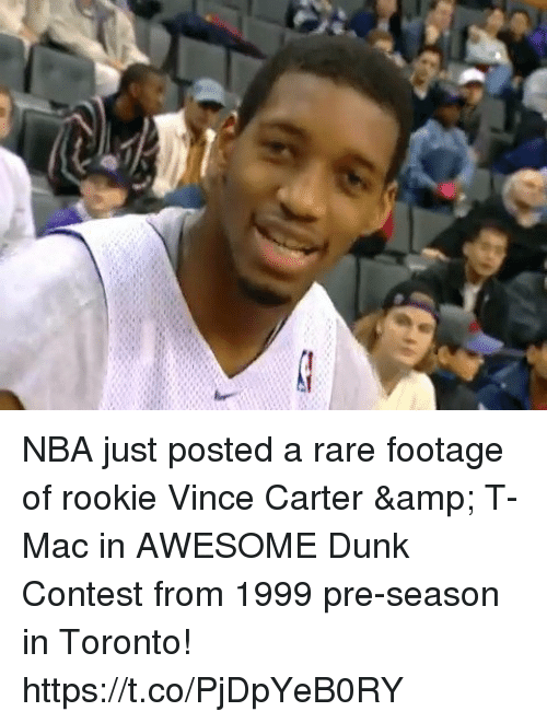 Dunk, Memes, and Nba: NBA just posted a rare footage of rookie Vince Carter & T-Mac in AWESOME Dunk Contest from 1999 pre-season in Toronto! https://t.co/PjDpYeB0RY