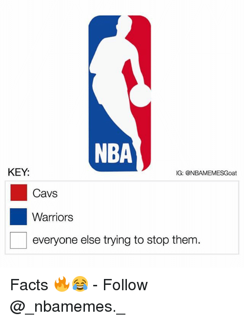 Cavs, Facts, and Memes: NBA  KEY:  IG: @NBAMEMESGoat  Cavs  Warriors  everyone else trying to stop them. Facts 🔥😂 - Follow @_nbamemes._