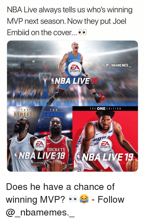 Memes, Nba, and Sports: NBA Live always tells us who's winning  MVP next season. Now they put Joel  Embiid on the cover...  EA  NBAMEMES.  SPORTS  NBA LIVE1S  THE ONE E DITI0 N  TH E  THE  STREETS LEARUE  EA  SPORTS  SPORTS  ROCKETS  A NBA LIVE 18| (ENBA LIVE 19 Does he have a chance of winning MVP? 👀😂 - Follow @_nbamemes._