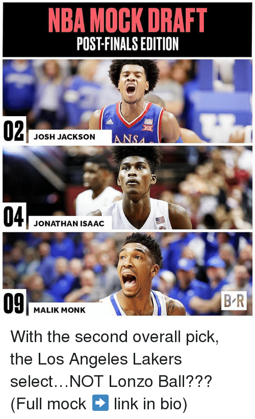 Los Angeles Lakers, Los-Angeles-Lakers, and Nba: NBA MOCK DRAFT  POSTFINALSEDITION  JOSH JACKSON  JONATHAN ISAAC  MALIK MONK  BR With the second overall pick, the Los Angeles Lakers select…NOT Lonzo Ball??? (Full mock ➡️ link in bio)