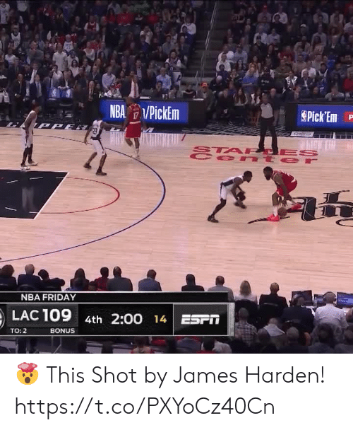 Friday, James Harden, and Memes: NBA PickEm  Pick Em  TPPE  STA PCES  e nt er  47  NBA FRIDAY  LAC 109  4th 2:00 14 ESPT  BONUS  TO: 2 🤯 This Shot by James Harden!   https://t.co/PXYoCz40Cn