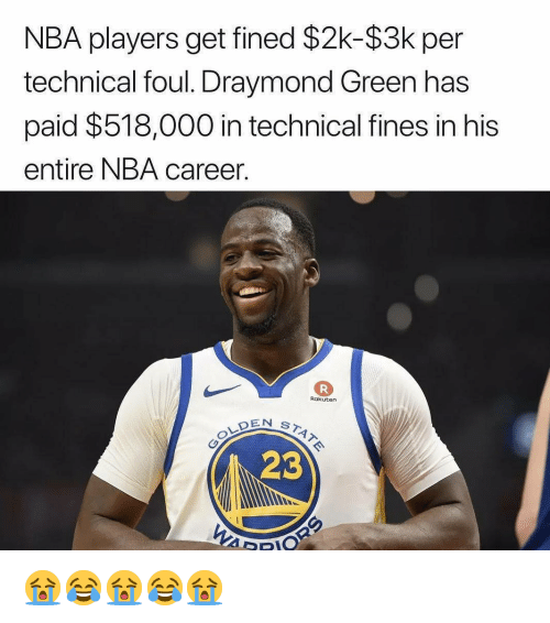 Draymond Green: NBA players get fined $2k-$3k per  technical foul. Draymond Green has  paid $518,000 in technical fines in his  entire NBA career.  Rakuten  EN ST4  23 😭😂😭😂😭