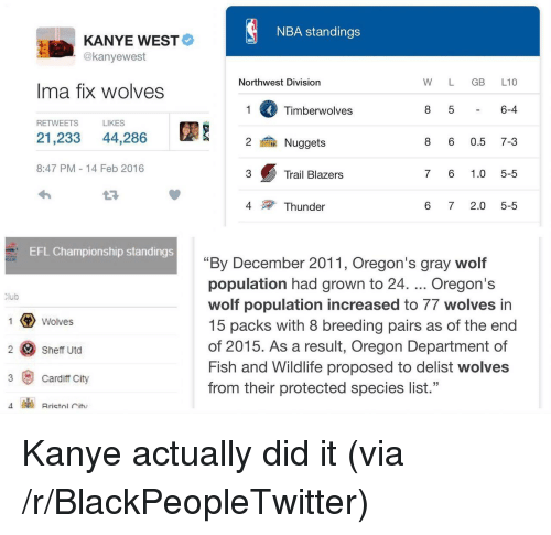 """Blackpeopletwitter, Kanye, and Nba: NBA standings  KANYE WEST  @kanyewest  Northwest Division  W L GB L10  Ima fix wolves  Timberwolves  6-4  RETWEETS  LIKES  21,233 44,286  鍮Nuggets  8 6 0.5 7-3  8:47 PM 14 Feb 2016  3  Trail Blazers  7 6 1.0 5-5  4  Thunder  6 72.0 5-5  EFL Championship standings  """"By December 2011, Oregon's gray wolf  population had grown to 24. Oregon's  wolf population increased to 77 wolves in  15 packs with 8 breeding pairs as of the end  of 2015. As a result, Oregon Department of  Fish and Wildlife proposed to delist wolves  from their protected species list.""""  lub  Wolves  2 Sheff Utd  3 Cardiff City <p>Kanye actually did it (via /r/BlackPeopleTwitter)</p>"""