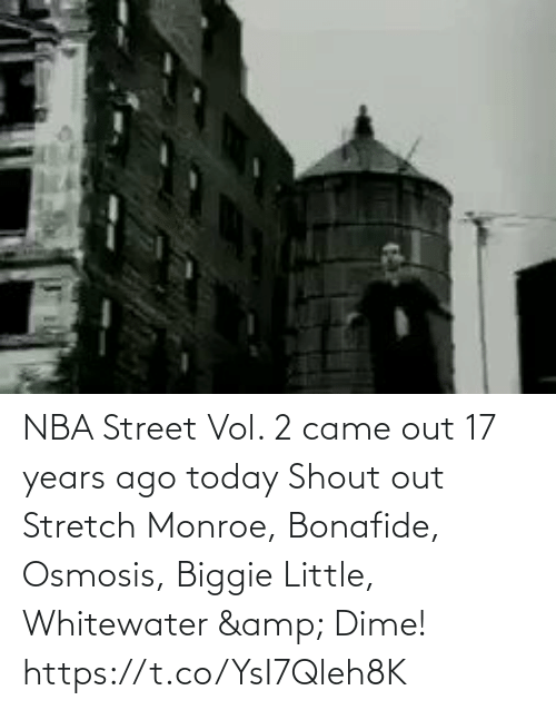 17 years: NBA Street Vol. 2 came out 17 years ago today   Shout out Stretch Monroe, Bonafide, Osmosis, Biggie Little, Whitewater & Dime!   https://t.co/YsI7Qleh8K
