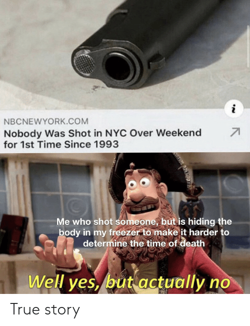True, Death, and Time: NBCNEWYORK.COM  71  Nobody Was Shot in NYC Over Weekend  for 1st Time Since 1993  Me who shot someone, but is hiding the  body in my freezer to make it harder to  determine the time of death  Well yes, but actually no True story
