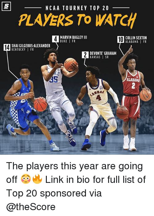 Basketball, Nba, and Sports: NCAA TOURNEY TOP 20  PLAYERS To WATCH  MARVIN BAGLEY III  DUKE I FR  10  OCOLLIN SEXTON  ALABAMA FR  14  SHAI GILGEOUS-ALEXANDER  KENTUCKYIFR  DEVONTE' GRAHAM  KANSAS SR  35  ALABAMA The players this year are going off 😳🔥 Link in bio for full list of Top 20 sponsored via @theScore