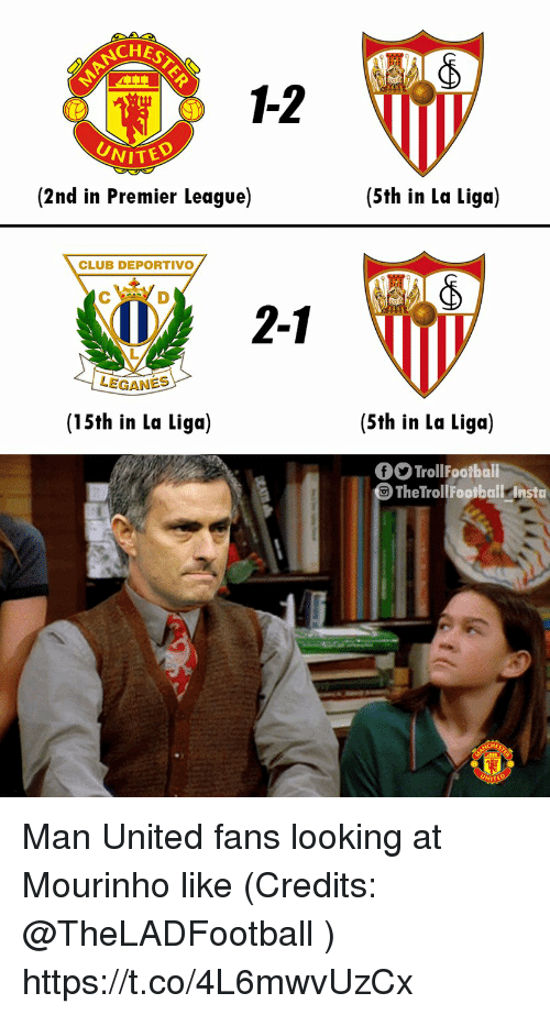 Club, Memes, and Premier League: NCHES  1-2  WITED  (2nd in Premier League)  (5th in La Liga)  CLUB DEPORTIVO  2-1  1  LEGANES  (15th in La Liga)  (5th in La Liga)  TrollFootballi  TheTro  lFootball Instu Man United fans looking at Mourinho like  (Credits: @TheLADFootball ) https://t.co/4L6mwvUzCx