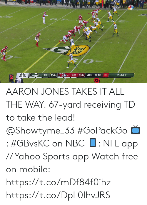 all the way: nd  КС 24  GB 24  4th  8:16  2nd & 2  :07  6-1  5-2 AARON JONES TAKES IT ALL THE WAY.  67-yard receiving TD to take the lead! @Showtyme_33 #GoPackGo  📺: #GBvsKC on NBC 📱: NFL app // Yahoo Sports app Watch free on mobile: https://t.co/mDf84f0ihz https://t.co/DpL0IhvJRS