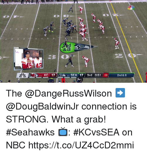Memes, Seahawks, and Strong: nd  &8  113  KC 17  SEA 17 3rd 0:51 :06  2nd & 8  8-6 The @DangeRussWilson ➡️ @DougBaldwinJr connection is STRONG.  What a grab! #Seahawks  📺: #KCvsSEA on NBC https://t.co/UZ4CcD2mmi