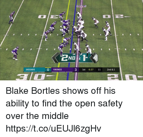 Sports, The Middle, and Vikings: ND k  JAGUARSs  O VIKINGS  3 1st 6:37 1  2nd & 1 Blake Bortles shows off his ability to find the open safety over the middle https://t.co/uEUJl6zgHv