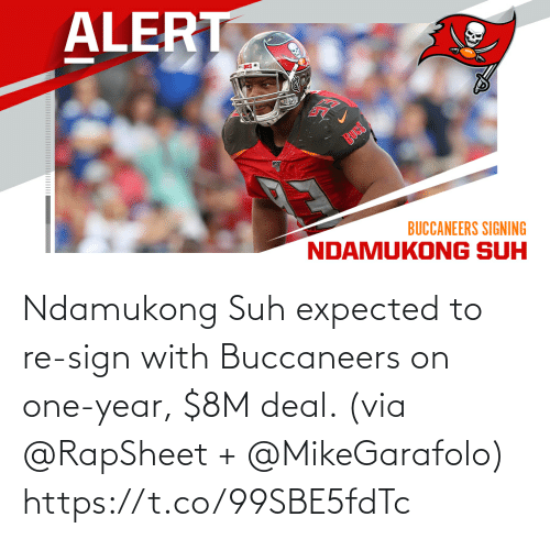 expected: Ndamukong Suh expected to re-sign with Buccaneers on one-year, $8M deal. (via @RapSheet + @MikeGarafolo) https://t.co/99SBE5fdTc