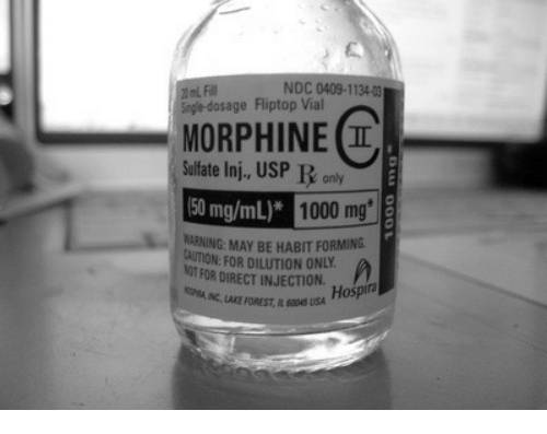 Usa, Forest, and Morphine: NDC 0409-1134-0  20 mL Fl  Sngle-dosage Fliptop Vial  MORPHINE I  Sulfate Inj., USP R only  50 mg/mL)*  1000 mg  ARNING: MAY BE HABIT FORMING.  CAUTION: FOR DILUTION ONLY  NOT FOR DIRECT INJECTION. Hospira  RIAINC, LAKE FOREST, IL 6045 USA