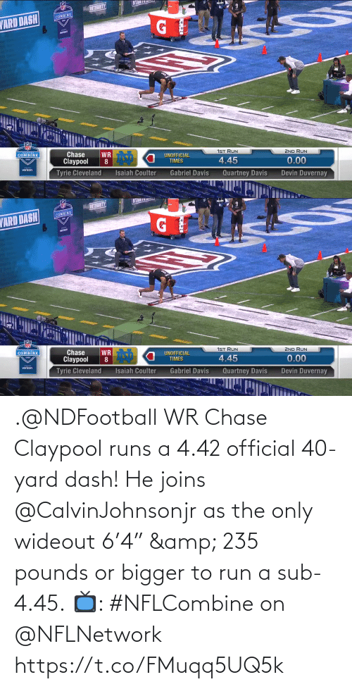 "Bigger: .@NDFootball WR Chase Claypool runs a 4.42 official 40-yard dash!  He joins @CalvinJohnsonjr as the only wideout 6'4"" & 235 pounds or bigger to run a sub-4.45.  📺: #NFLCombine on @NFLNetwork https://t.co/FMuqq5UQ5k"