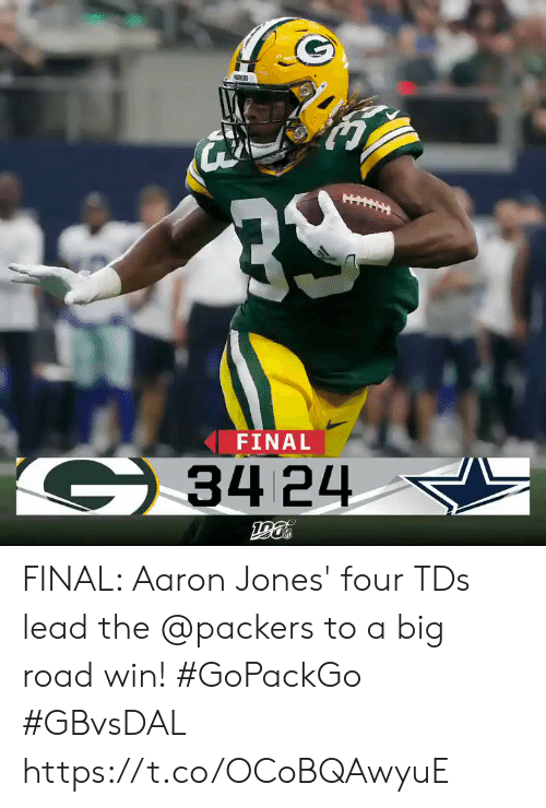 Memes, Packers, and 🤖: NDISRS  FINAL  G34 24 FINAL: Aaron Jones' four TDs lead the @packers to a big road win! #GoPackGo #GBvsDAL https://t.co/OCoBQAwyuE