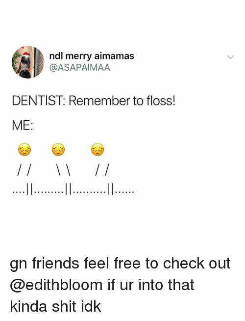 Friends, Memes, and Shit: ndl merry aimamas  @ASAPAIMAA  DENTIST: Remember to floss!  ME: gn friends feel free to check out @edithbloom if ur into that kinda shit idk